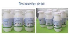 Création de bouteilles de lait pour la marchande