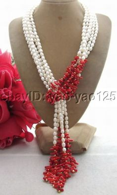 "R081701 3Strds 50"" White Pearl&Coral Necklace"