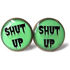 Spooky Cute Drippy Shut Up Stud Earrings - Funny Antisocial Soft... ($10) ❤ liked on Polyvore