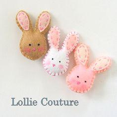 Bunny Felt Brooch, 2pc Pin felt animals,Easter Bunnies, gift for her white cream. $16.00, via Etsy.