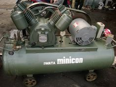 Cung cấp máy nén khí piston Iwata minicon công suất 3.7 kW, dạng piston có dầu bôi trơn, làm mát bằng gió, bình chứa 150 lít, lưu lượng 430 lít/phút, áp suất 9.5 kgf/cm2