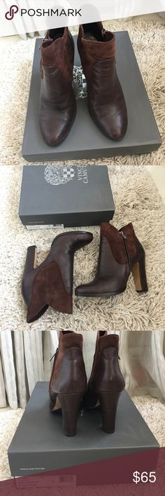 "Vince Camuto-brown leather /suede ankle boots Brown ankle leather / suede 3 1/2"" boots. Gentle use. Extremely comfortable. Vince Camuto Shoes Ankle Boots & Booties"