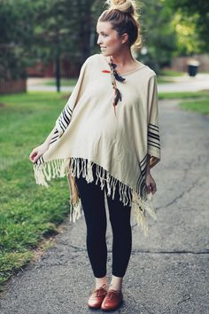 Sydney of TheDaybook. Shoes: YesStyle, Leggings: Target, Poncho: H&M {sweet gift from Linda!} Earring: Vanessa Mooney. Digging the top!