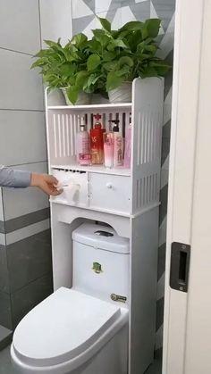 Diy Bathroom, Small Space Bathroom, Small Bathroom Storage, Bathroom Organisation, Bathroom Design Small, Simple Bathroom, Bathroom Interior Design, Slim Bathroom Storage Cabinet, Bathroom Ideas