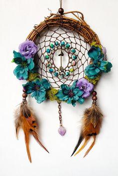 Artisan made Key RingDream Catcher Art Purple Feather with Spots 2 in Double Star w Silver Beads Purple OOAK