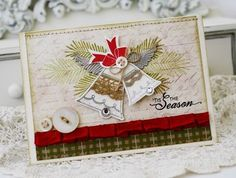 christmas in september... This card uses Maile Belle's sweet Bells & Boughs stamp and die set.  I also used the angel wings from the Love Lives Here:  Holiday  die collection once again.