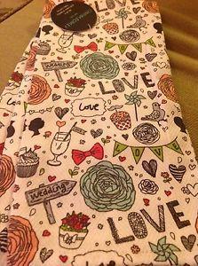 CYNTHIA ROWLEY 2 KITCHEN TOWELS LOVE WEDDING 100% COTTON NWT