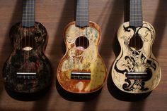3 cool painted ukes