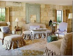 Beautiful French decor in a soft neutral color palette. I love the skirted furniture. In fact, I love everything about this room. I could be very comfortable calling this home :)