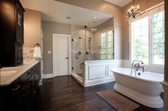 Neutral walls and accents, dark cabinets & luxurious hand-scraped hardwood, Knob Hill Birch!