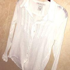 American Rag Tops - White cotton gauze long sleeve shirt.