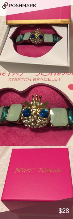 Betsey Johnson Stretch Bracelet Owl  & Green Stone This is a Betsey Johnson rhinestone owl & green gem stretch bracelet. Brand new in the box! Betsey Johnson Jewelry Bracelets