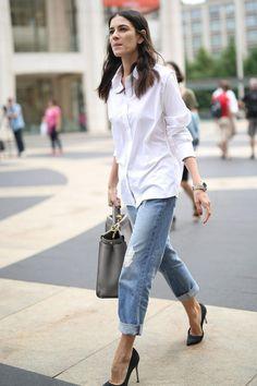 Street style. Stilettos, jean and white shirt