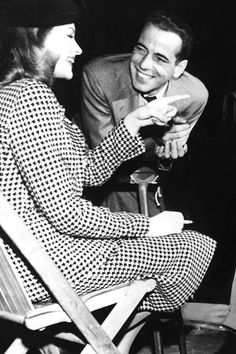 Lauren Bacall & Humphrey Bogart on the set of 'The Big Sleep', 1946.