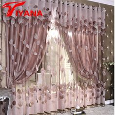 Fall Feeling Leaf Dark Color Sheer and window art curtains Leaf Curtains, Home Curtains, Grommet Curtains, Curtains For Kitchen, Camper Curtains, Curtain Fabric, Luxury Curtains, Modern Curtains, Curtain Patterns