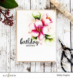 There's a new Altenew release around the corner, but have you had chance to check out the Hibiscus Bouquet and floral ink bundle yet? This is a special bundle with the yet-to-be-released Hibiscus Handmade Birthday Cards, Happy Birthday Cards, Birthday Wishes, Watercolor Birthday Cards, Watercolor Cards, Watercolour, Penny Black, Hibiscus Bouquet, Hibiscus Flowers