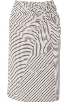 Band of Outsiders | Gathered striped silk crepe de chine skirt | NET-A-PORTER.COM