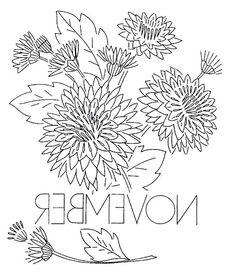 vintage flowers embroidery or redwork  November