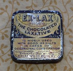 Vintage Chocolate EX-LAX Laxative Tin Empty Made in Brooklyn New York #EXLAX