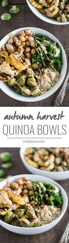 These warm Harvest Quinoa Bowls are packed with fall produce, protein-packed quinoa and drizzled with a creamy tahini dressing!