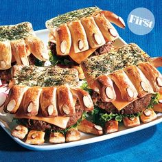 Wild! What a great idea for dinner on Halloween night.  Hairy Hand Burgers
