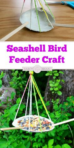 Looking for a fun seashell craft for kids? Let the kids repurpose their beach treasures with this Shell Bird Feeder Craft! Hang this adorable bird feeder near a window where the children can observe the birds that live in the area. Makes an easy summer cr