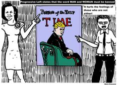 Time Magazine Person of the year Micehlla obama transgendered political cartoon for donald trump