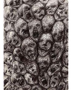 Creepy Drawings, Dark Art Drawings, Pencil Drawings, Arte Horror, Horror Art, Dark Art Illustrations, Illustration Art, Scribble Art, Art Ancien