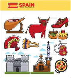 Spain travel famous landmark symbols, tourist culture attractions. Spanish flag, Madrid or Barcelona architecture, corrida bull an
