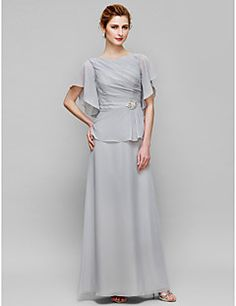 Sheath+/+Column+Mother+of+the+Bride+Dress+Ankle-length+Short+Sleeve+Chiffon+with+Crystal+Detailing+/+Side+Draping+–+USD+$+99.99