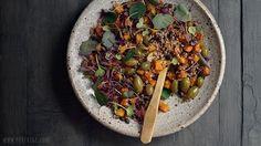 warm buckwheat & butternut squash salad (w/ black beans, microgreens, caper berries, microgreens)
