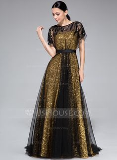 A-Line/Princess Scoop Neck Sweep Train Ruffle Beading Zipper Up Cap Straps Short Sleeves No Gold Fall General Plus Tulle Sequined Evening Dress