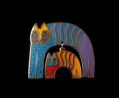 Vintage LAUREL BURCH Mother Cat and Kitten Mr. Jio's Pin Brooch