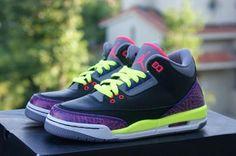 NIKE AIR JORDAN III RETRO GS BLACK/PURPLE/VOLT #sneaker
