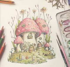 Items similar to Print - Mushroom neighbourhood illustration - Fantasy world of Charlotte Lyng on Etsy Fairy Drawings, Cool Art Drawings, Art Sketches, Mushroom Drawing, Mushroom Art, Arte Indie, Illustration Art, Illustrations, Arte Sketchbook
