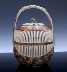 Japanese Porcelain Satsuma Cricket Cage - Antique Oriental Finds on Ruby Lane