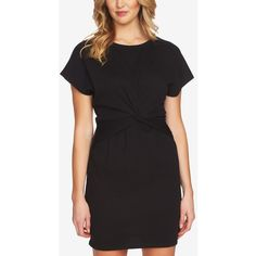 1.state Short-Sleeve Twist-Front Dress ($79) ❤ liked on Polyvore featuring dresses, rich black, short sleeve mini dress, twist front dress, mini dress, short sleeve dress and short dresses