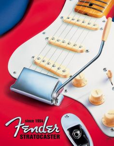 #Fender Red #Statocaster Tin Sign is a surefire attention-grabber as well as a decorative focal point for any room in the house. #homedecoration #signs #wallpictures