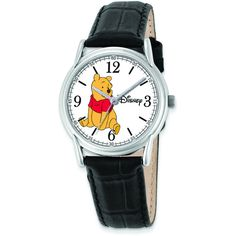 Disney Women's Black Leather Strap Winnie the Pooh Watch White ($50) ❤ liked on Polyvore featuring jewelry, watches, white, buckle jewelry, white jewelry, crown jewelry, buckle watches and white dial watches