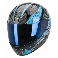 Helmet Scorpion Exo 1200 Tenebris black sky blue moto casque integral helm