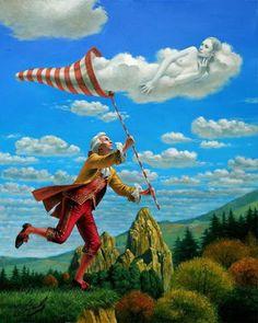 """Dream Catcher"" by Michael Cheval - Original Oil on Canvas 20 x 16 Surrealism Painting, Pop Surrealism, Illustrations, Illustration Art, Art Visionnaire, Surreal Artwork, Magic Realism, Wassily Kandinsky, Grafik Design"