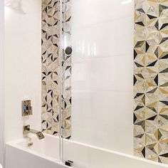 Contemporary meets art deco in this bathroom. The balance of brass accents with our ever-popular Phantasm Marble Tile creates an upscale ambiance we can get behind. Shower Accent Tile, Shower Floor Tile, Marble Tile Bathroom, Bathroom Wall, Bathroom Ideas, Bathtub Tile, Online Tile Store, Art Deco, Feature Tiles