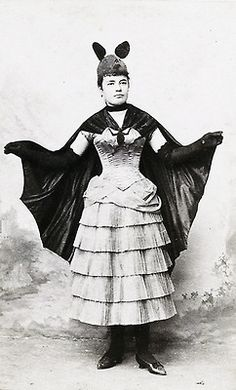 Victorian Bat costume based on a French fashion plate, bat costume for fancy-dress ball, c. 1887