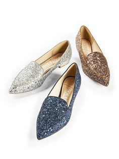 Pointed toe smoking slippers in silver, navy & bronze glitter