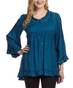 Teal Lace Button-Up Top by Lazy Daisy #zulily #zulilyfinds