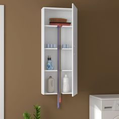 Notches cut into the shelves will allow you to store a sponge mop or broom in the same cabinet as cleaning supplies. Interior Design Living Room, Living Room Designs, Mini Loft, Small Room Bedroom, Little Houses, Home Organization, Home And Living, Furniture Design, Sweet Home