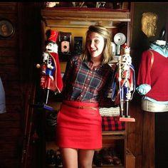 Red pencil skirt + plaid shirt./ I'm loving the plaid shirt with it!