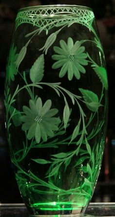 Large Green Vase* Floral* hand engraved by Catherine Miller of Catherine Miller Designs*Technique Stone Wheel Engraving