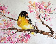 ORIGINAL Watercolor Painting, Goldfinch With Pink Flowers, Watercolor Bird Painting 6x8 inch