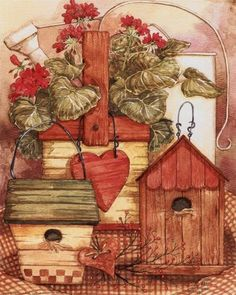 Geraniums and Birdhouses painted and copyrighted by Diane Knott